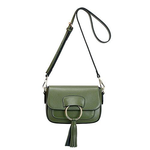 Dissa Q0816 Damen Leder Handtaschen Satchel Tote Taschen Schultertaschen Grün