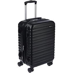 AmazonBasics Valise Rigide à Roulettes Pivotantes, Noir, 55 cm, Autorisé par la plupart des compagnies aériennes low cost