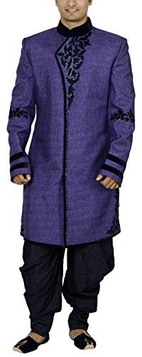 Sargam Nx Men's Linen and Jute Sherwani (Purple, 42)