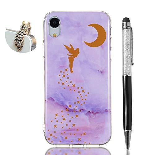 Hirkase iPhone XR Cover,Antiurto Ultra Sottile Anti-Graffio Cassa del Telefono per della Copertura + Penna Stilo + Tappo Antipolvere(Elfo Marmo Viola)