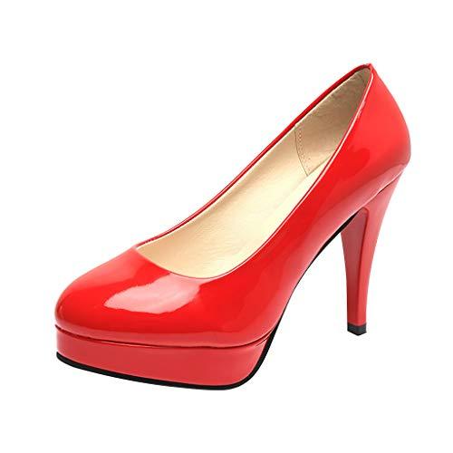 Frauen runde Kappe Klassische High Heels, Stiletto-Plattform-Beleg auf Kleid pumpt Elegante Damen-Hochzeitsfest-Büro-Schuhe Penny-plattform Sandal