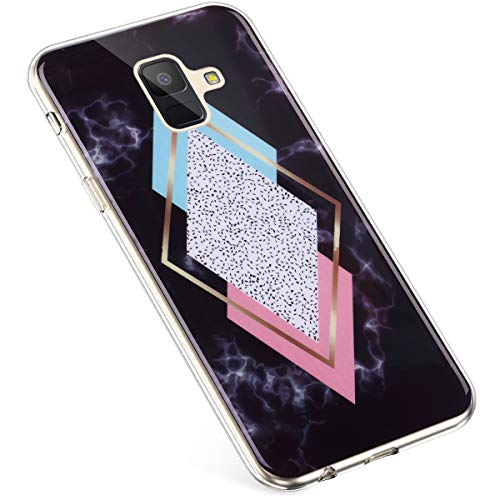 Uposao Kompatibel mit Samsung Galaxy A6 2018 Hülle Silikon Transparent Silikon Schutzhülle Durchsichtig Kratzfest TPU Bumper Crystal Clear Case Cover Handytasche Handyhülle,Marmor Rhombische