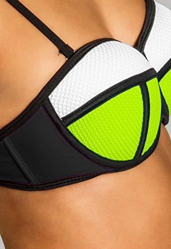 CASPAR BIK005 Damen Bandage Bikini Set neon gelb-weiss / schwarz WP