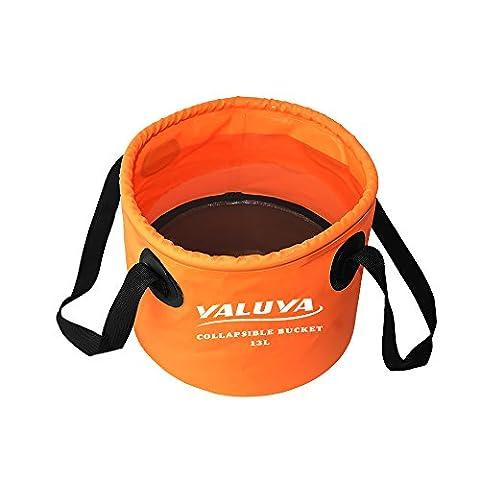 YALUYA 13L Collapsible wash basin, Lightweight Portable Outdoor Folding Wash Basin Collapsible Bucket Water Bag Wash Bucket for Camping Traveling Hiking Fishing Washing (Orange,