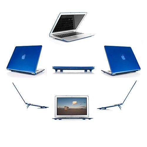 mCover hochwertigem Polycarbonat Hülle Schutzhülle Notebooktasche Hard - Shell - Case Tasche Etui für Apple Macbbok Air 13 Zoll (Modell A1466 & A1369) - Blau (Mac Book Pro Fall Ipearl)