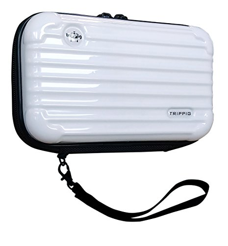 Weiße Clutch Wallet ([TRIPPIG] Reisepass Halter / Reisepass Hülle / Reise Clutch Tasche / Kosmetik Organizer / Mini Gepäck Form / Kreditkarten Organizer mit Handschlaufe (Weiß))