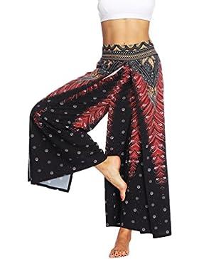 Lvguang Mujer Yoga Linterna Pantalones Casual Pantalones Deportivos Dama Estampado Floral Pantalones