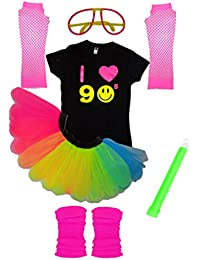 Honey B's Love 90s Neon Rainbow Tutu Skirt 90's Flo T-Shirt Set Fancy Dress Party Wear Smiley Face