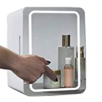 Mini Makeup Fridge, 8L Portable Cosmetic Refrigerator, Glass Panel And Led Lighting, Cooler/Warmer Freezer, Used for Beauty Skin Care in Home, Car