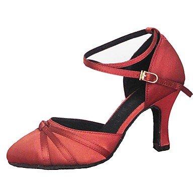 Silence @ Chaussures de piste de danse latine de danse moderne pour femme en satin Sandales Talon professionnel/intérieur Jaune/rouge jaune