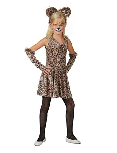 Luxuspiraten - Mädchen Kinder Kostüm Leopard Kleid mit Armstulpen und Kopfschmuck, Dress with Armpieces and Diadem, perfekt für Karneval, Fasching und Fastnacht, 152, Braun