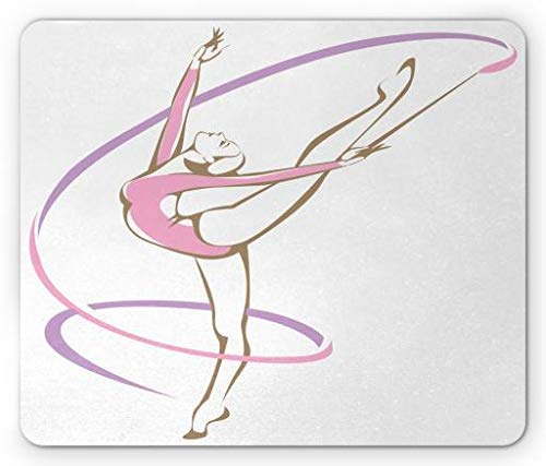 Lilac Dance (Dance Mouse Pad, Rhythmic Woman Gymnast Performing a Ribbon Ballet Fine Arts Theme, Standard Size Rectangle Non-Slip Rubber Mousepad, Pale Pink Lilac Sepia)