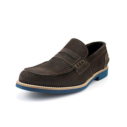 Giorgio rea scarpe uomo mocassini uomo fatti interamente a mano in italia in vera pelle scamosciata leggerissimi comodi, marroni, casual di tendenza alla moda luxury shoes (41, testa di moro)