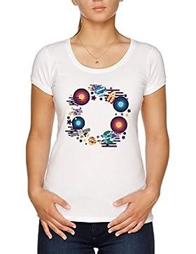 Vendax Astronave Fronteras Camiseta Mujer Blanco