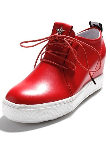 ZQ hug Scarpe Donna-Stringate-Casual / Sportivo / Scarpe comode-Punta arrotondata-Piatto-Finta pelle-Nero / Rosso / Bianco , red-us8 / eu39 / uk6 / cn39 , red-us8 / eu39 / uk6 / cn39 white-us5.5 / eu36 / uk3.5 / cn35