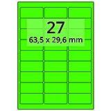 Labelident farbige Etiketten leuchtgrün - 64 x 30 mm - 2700 Farbetiketten auf 100 Blatt, Papieretiketten DIN A4 selbstklebend, bedruckbar