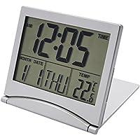 Portátil Despertador de Viaje Reloj Alarma Silencioso, EASEHOME Reloj Digital Función Snooze Relojes Despertadores Digitale con Gran Pantalla LCD Temperatura Calendario Funciona con Pilas, Plata