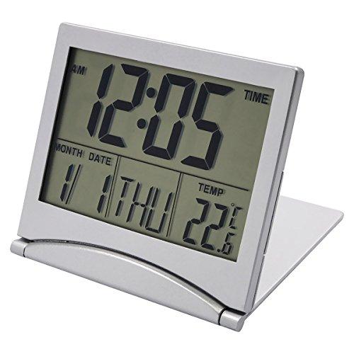 EASEHOME Digital Reise Wecker, Reisewecker Digitalwecker Snooze Digitale Wecker Batteriebetrieben Alarm Clock Große Zahlen Temperatur- und Datumsanzeige, Silber