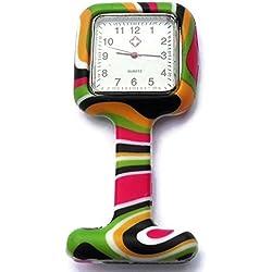 QBD Nurses Fashion Coloured Patterned Silicon Rubber Fob Watches - SQUARE Black Stripe