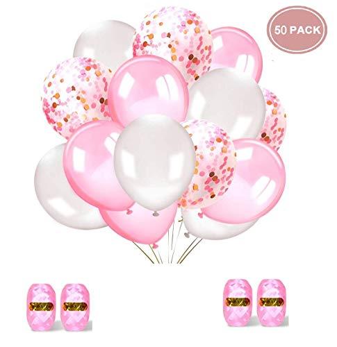 ftballons Rosa Konfetti Ballons Rosa und Weiß für Hochzeit und Geburtstag,Graduierung,Party, Weihnachten, Brautgeschenke, Baby-Duschen, Valentinstag (Pink + Weiß) 30cm ()