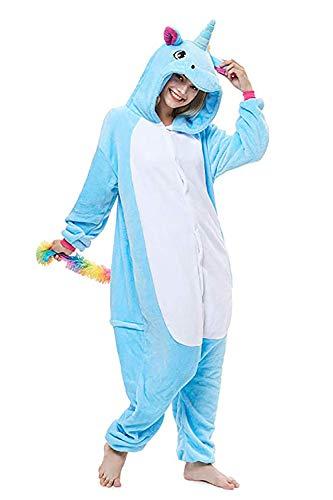 Unicornio Pijamas Cosplay Unicorn Disfraces Animales Franela Monos Unisex-adulto ropa de dormir Disfraces de fiesta (S, Azul)