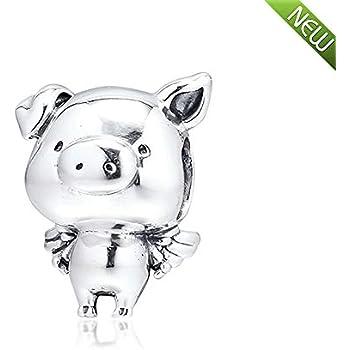 DIY Fashion 925 Silver Pig Charm European Spacer Beads Fit Necklace Bracelet #/%