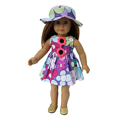 ZITA ELEMENT ROPA DE MUñECA-4 SET PLAYA COSTUME OUTFIT- DRESS + HAT + SUNGLASS + ZAPATOS PARA MY LIFE DOLL  OUR GENERATION AND OTHER 18 INCH DOLLS VACACIONES DE VERANO