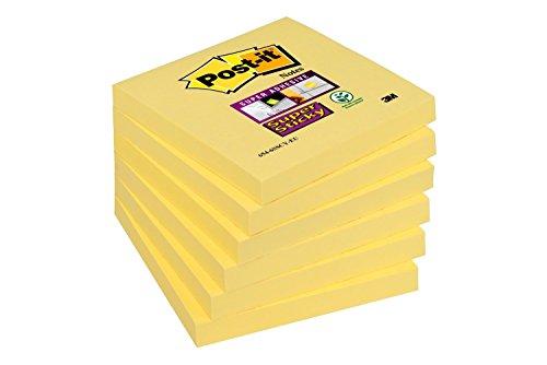 Post-It Super Sticky 6546SY - Pack de 6 blocs de notas adhesivas, 90 hojas/bloc, 76 x 76 mm, color amarillo