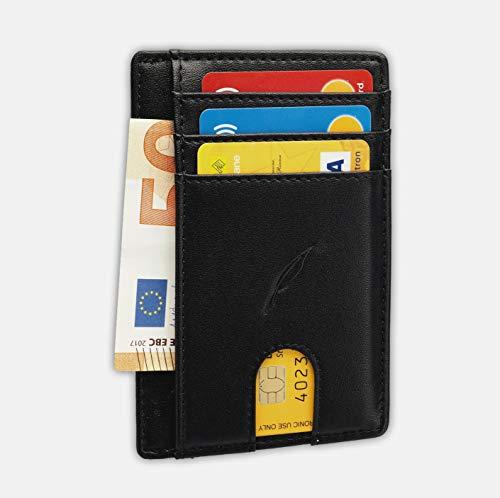 Portafogli Feather-Porta carte di credito,Porta Tessere,Porta Banconote-8 Slot-Minimalista Capiente Leggero-RFID Protection-Design Italiano-Nero Uomo-Donna-Slim-Porta Documenti