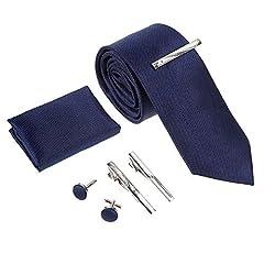Idea Regalo - Rovtop Cravatta Uomo, 4 Stili, con 1 Fazzoletto, 2 Gemelli, 3 Fermacravatta, Regalo per Il Fidanzato, Scelta Migliore per Il Regalo del papà
