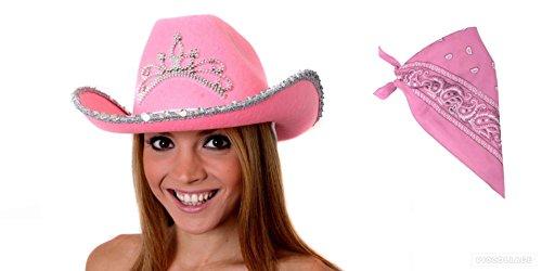 Cowgirl Set, Pink Hat mit Tiara und Glitzer Rand Henne Cowgirl Nächte und Western Lady (Womens Cowgirl Kostüm)