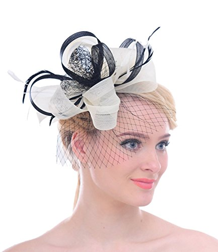 Geloopt Band Net Schleier Feder Haar Clip Braut Fascinator Kentucky Derby Cocktail Hut - Mutter Braut Hüte Der