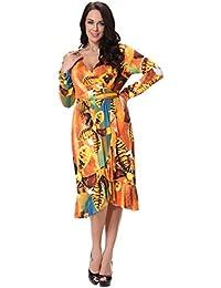 Womdee Damen Blume Muster V Ausschnitt Langarm Kleid mit Gürtel