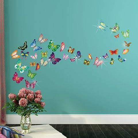 Walplus WS3013 Butterflies Plus WS1022 - Adesivi da parete 3D, motivo: Farfalle, multicolore