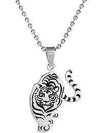 Collier Homme Bicolore Tigre en Chasse en Pendentif avec Chaîne en Acier Inoxydable.
