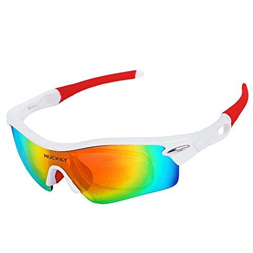 Nuckily alta qualità sport occhiali da sole fashion uomini e donne equitazione Outdoor occhiali, Uomo, white red