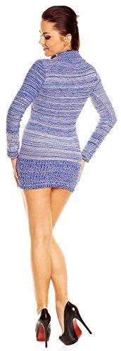 Zeta Ville - Pull moulante en maille à manches longues - femme - 912z Bleu Royal Melange