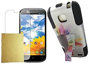 Maxtron Hybrid Armor Protector Phone Cover Stand Case for BLU Studio II 5.3 D550A - Non-Retail Packaging - Sun Flower