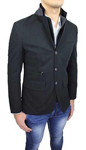 Giacca cappotto uomo Alessandro Gilles sartoriale nero casual elegante slim fit invernale made in Italy con gilet interno (M)