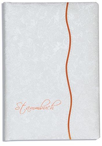Stammbuch der Familie -Mana-, Glanzmaterial, marmoriert, Weiss, apricot, Klemmtechnik, Klemmschiene, Stammbücher…