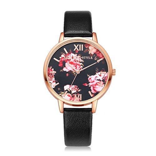 Dilwe Armbanduhr Frauen Quarz Uhr Justierbares PU Bügel Blumen Muster Vorwahlknopf Analoge Anzeigen (D)