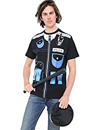 Wicked Fun® Adult Men's Police Fancy Dress Accessories Printed T-Shirt, Truncheon & Hat Set Hen Party book Week Day