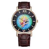 Austinstore Fashion Colorful Pattern Faux Leather Band Women Round Quartz Wrist Watch Gift - Brown