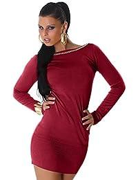 Jela London Damen Kleid Langarm Pullover Longpulli Sweater  Rücken-Ausschnitt RIPP-Optik Pulloverkleid Longshirt c1b45a7676