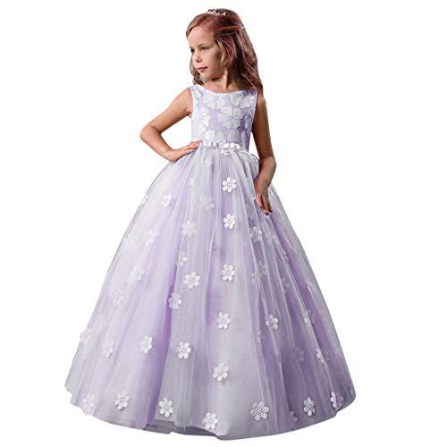 Livoral Mädchen Hochzeitskleid Partykleid Kinder Kinder Mädchen Bogen Prinzessin Formale Hochzeit Ärmelloses Tutu Kleid(Lila,150) (Red Tutu M&m Teen Kostüm)