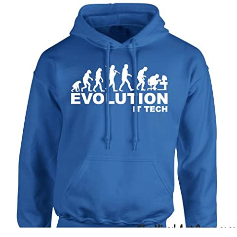 iClobber Evolution It Tech Men's Hoodie Pc Apple Guru Techie Ape To Man Hoody - Medium Adult - Royal Blue