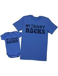 My Dad Rocks, My Baby Rocks - regalo para padres y bebés en un cuerpo