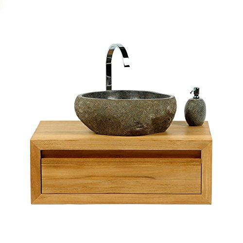 wohnfreuden Steinwaschbecken Naturstein Waschbecken 40 cm oval aus Flussstein Granit oder Findling für Ihr Gäste WC Bad