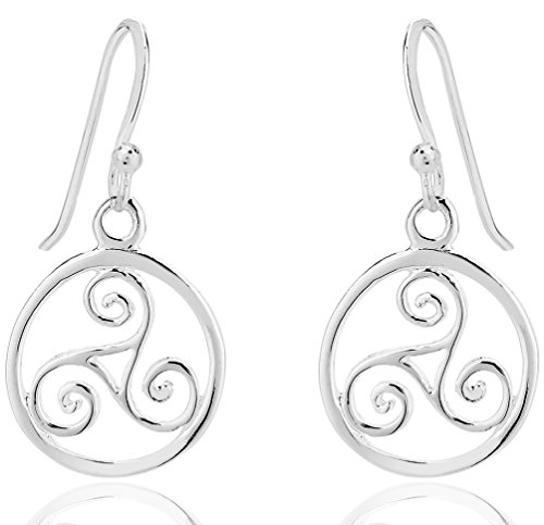 DTPsilver - Boucles d'oreilles Femme en Argent Fin 925 en Forme de Noeud Celtique Triskel