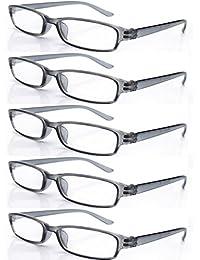 4sold Gafas de Lectura Presbicia Vista Cansada - (Pack 5) Graduadas fde 0.5 a 4.00 Dioptrías Montura de Pasta Azul Marrón Negra Carey Diseño Moda Hombre Mujer Unisex Lentes de Aumento